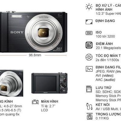 Máy ảnh nhỏ gọn Sony W810 với zoom quang học 6x
