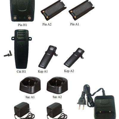 Pin, kẹp, bộ sạc, nguồn cho bộ đàm HYPERSIA