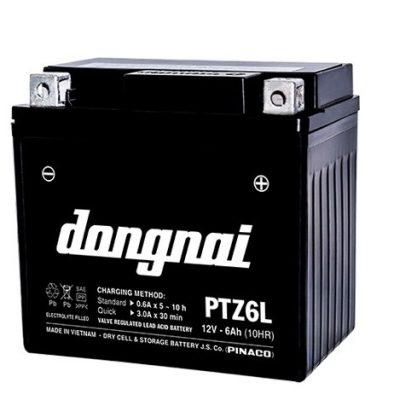 Ắc quy gắn máy 12V-6Ah Đồng Nai Pinaco PTZ6L